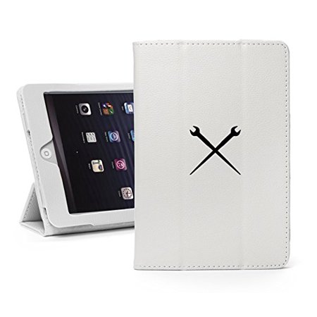 For Apple iPad Mini 1/2/3 White Faux Leather Magnetic Smart Case Cover Spud Wrenches Iron Worker