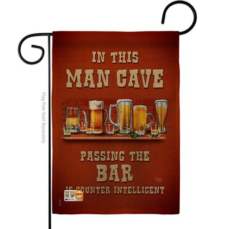 Breeze Decor BD-BV-G-117045-IP-DB-D-US18-SB 13 x 18.5 in. Man Cave Passing the Bar Burlap Happy Hour & Drinks Beverages Impressions Decorative Vertical Double Sided Garden Flag ()