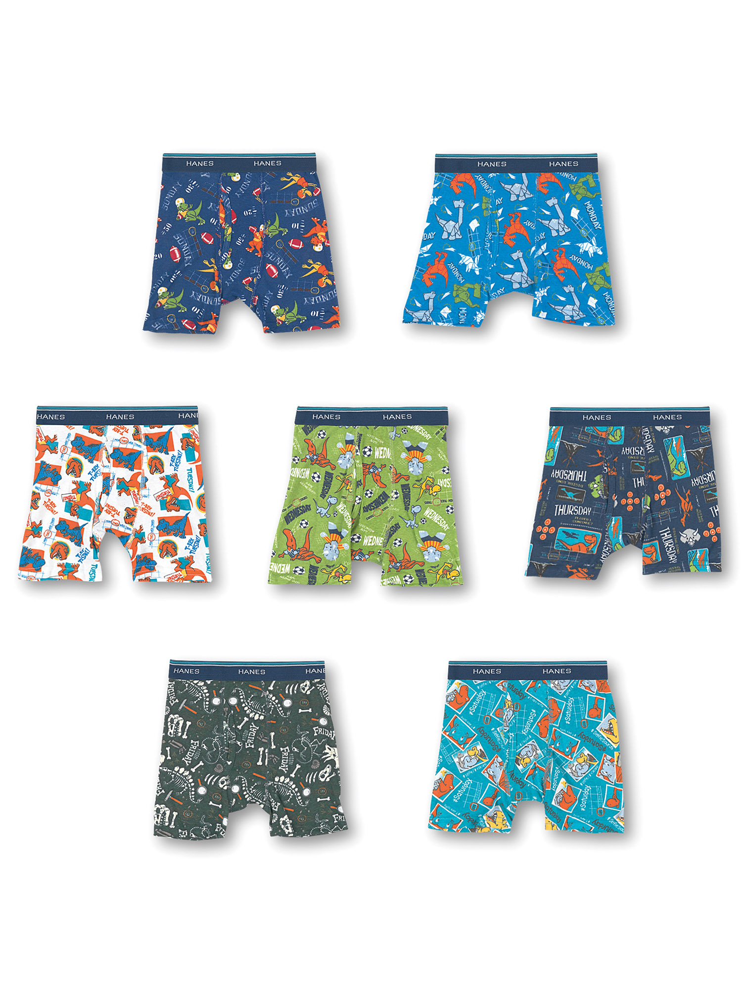 Assorted Hanes Boys Toddler 7-Pack Days of The Week Boxer Brief