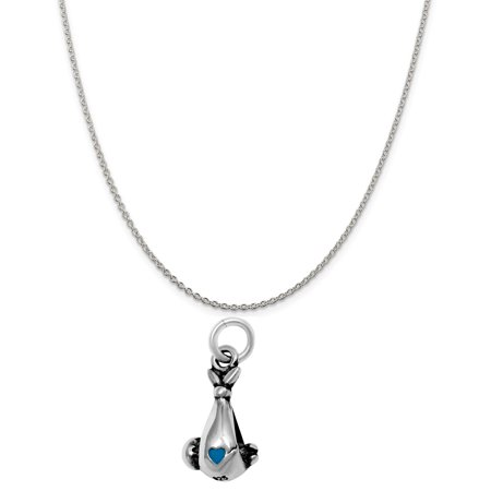 Sterling Silver 3D Baby Boy Bundle Charm on a 16 Cable Chain Necklace
