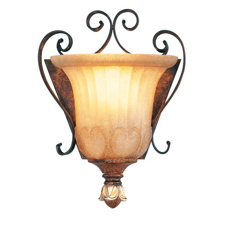 Wall Sconces 1 Light With Rustic Art Glass Verona Bronze with Aged ...