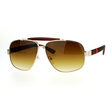 SA106 Mens Narrow Aviator Luxury Designer Sunglasses Gold Brown ()