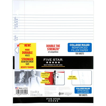 8 1/2x11 Matte Photo Paper (Five Star Reinforced Filler Paper, College Ruled, 100 Sheets/Pack)