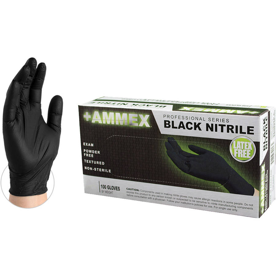 AMMEX Black Nitrile Exam Disposable Gloves, Small