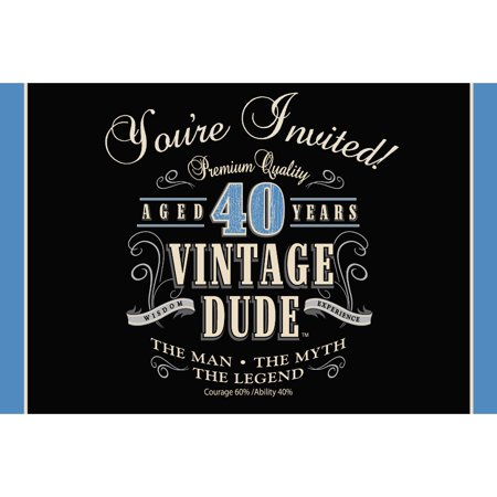 40th Birthday Party Invitations (Club Pack of 48 Vintage Dude 40th Birthday Party Gatefold Paper Invitations)