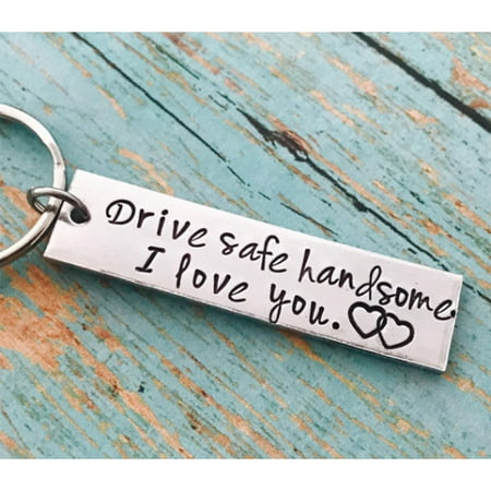 Stainless Steel Drive Safe Handsome I Love You Engraved Keychain Keyring for Husband Boyfriend -