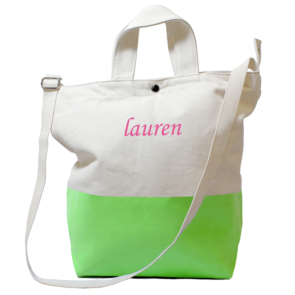 Personalized Kiwi Color Dipped Canvas Tote