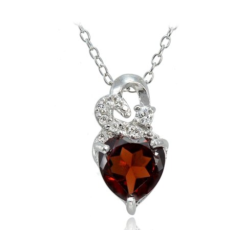 Garnet Bead Necklace - Sterling Silver 1.8ct TGW Garnet and White Topaz Double Heart Necklace
