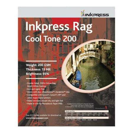 Inkpress Rag Warm Tone Inkjet - Inkpress Rag Cool Tone 200 Double Sided Bright White Matte Cotton Inkjet Paper, 200gsm, 16 mil., 8x10