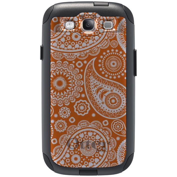 CUSTOM Black OtterBox Commuter Series Case for Samsung Galaxy S3 - Orange White Paisley