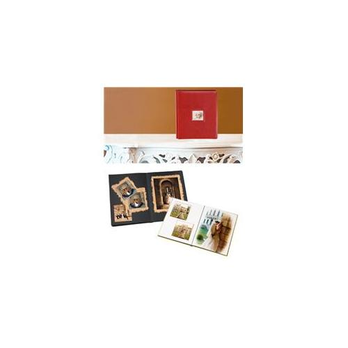 Leather Album Designs PD7055111141012B Peel And Stick Self Mount 11X14 Red Top Grain Leather Album 12 Pg - 24 Sides