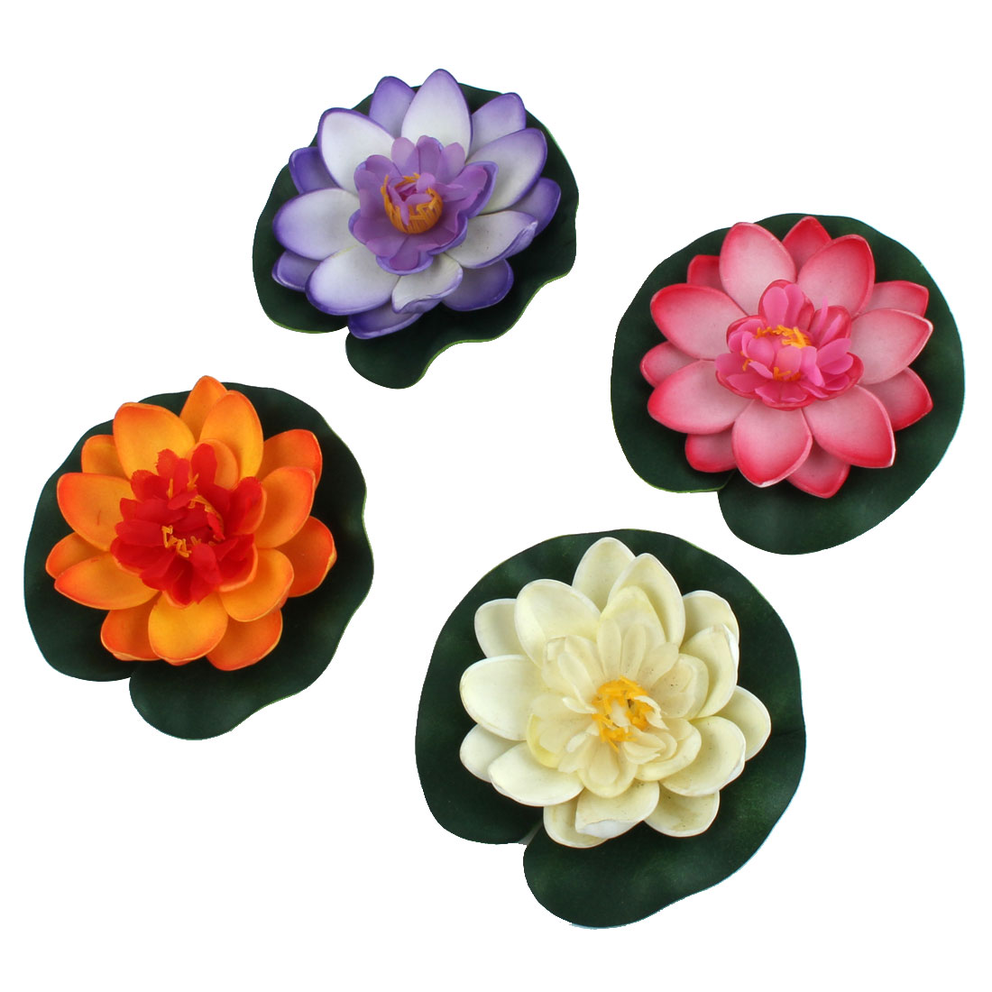 Aquarium Fish Tank Pond Simulation Lotus Flower Plant Decor Ornament 4pcs
