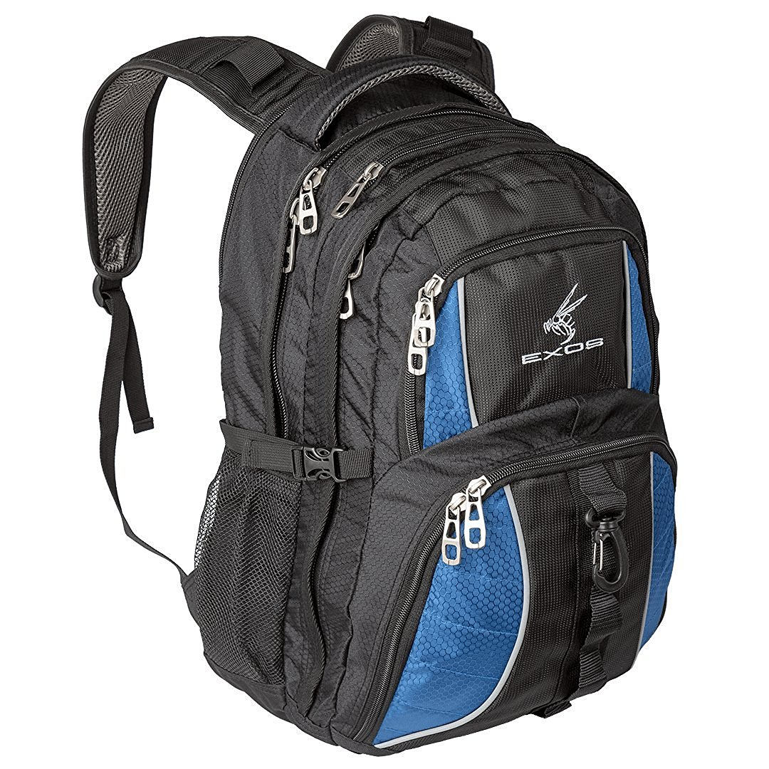 Backpack, (laptop, travel, school or business) Urban Commuter by EXOS (Black/Blue)