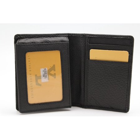 Genuine Pebble Leather Execufold Tri-fold Wallet 8 Card Slot Window ID YL (Black Y-739 AXE)