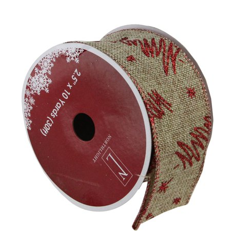 Red Tree and Beige Burlap Wired Christmas Craft Ribbon 2.5