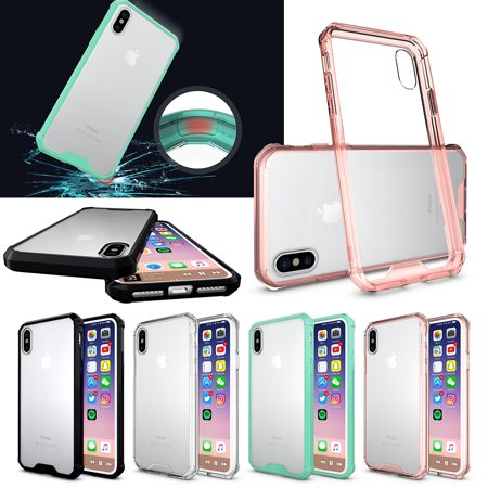 For Apple iPhone X 10 ten Case , Hybrid Silicone TPU Bumper and Protective Clear PC Cover - Pink