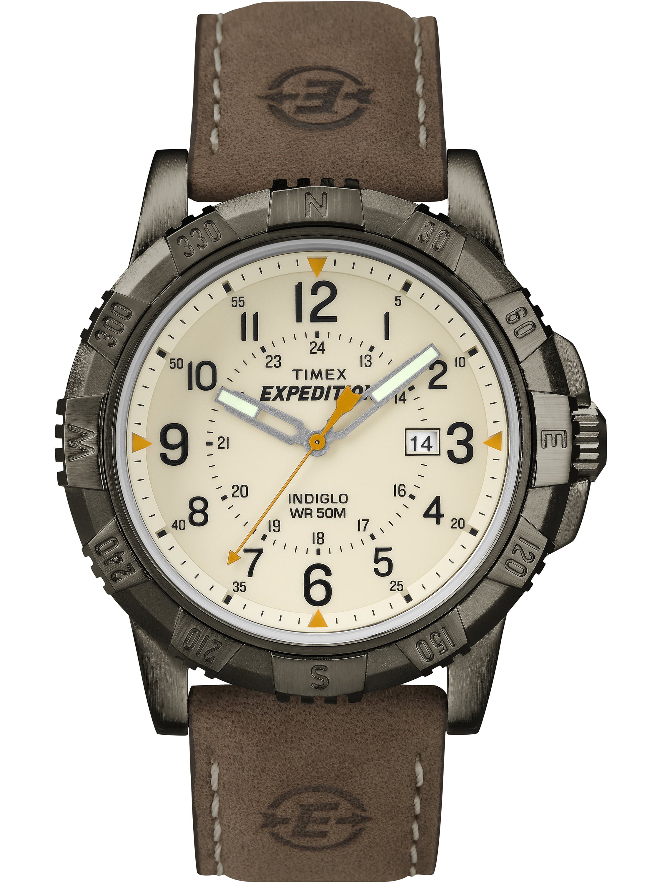 Timex Men's Expedition Rugged Metal Field Natural Dial Watch, Brown Leather Strap by Timex