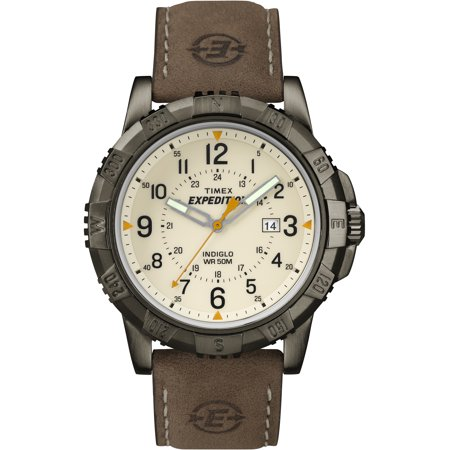 Timex Men S Expedition Rugged Metal Field Natural Dial Watch Brown Leather Strap