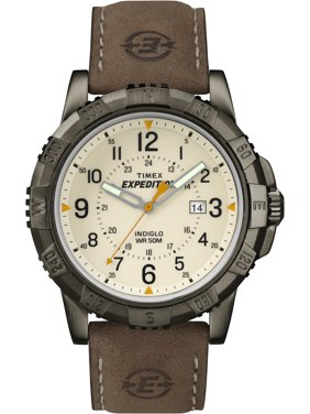 Men's Expedition Rugged Metal Field Natural Dial Watch, Brown Leather Strap