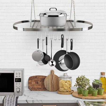 Low Ceiling Oval Pot Rack - Oval Pot Rack Pan Rack for Ceiling with Hooks — Decorative Oval Mounted Storage Rack — Multi-Purpose Organizer for Home, Restaurant, Kitchen Cookware, Utensils, Books, Household (Hanging Chrome)