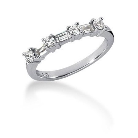 14K White Gold Seven Diamond Wedding Ring Band with Round and Baguette Diamonds Size - 7