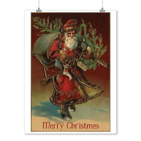 - Merry Christmas - Santa with Gifts - Lantern Press Artwork (9x12 Art Print, Wall Decor Travel Poster)