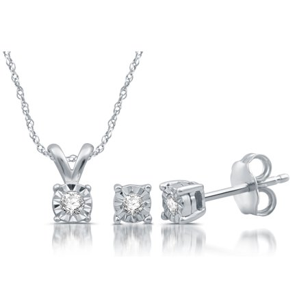 Sterling Silver 1/10 CTTW Diamond Miracle Plate Earring & Pendant -