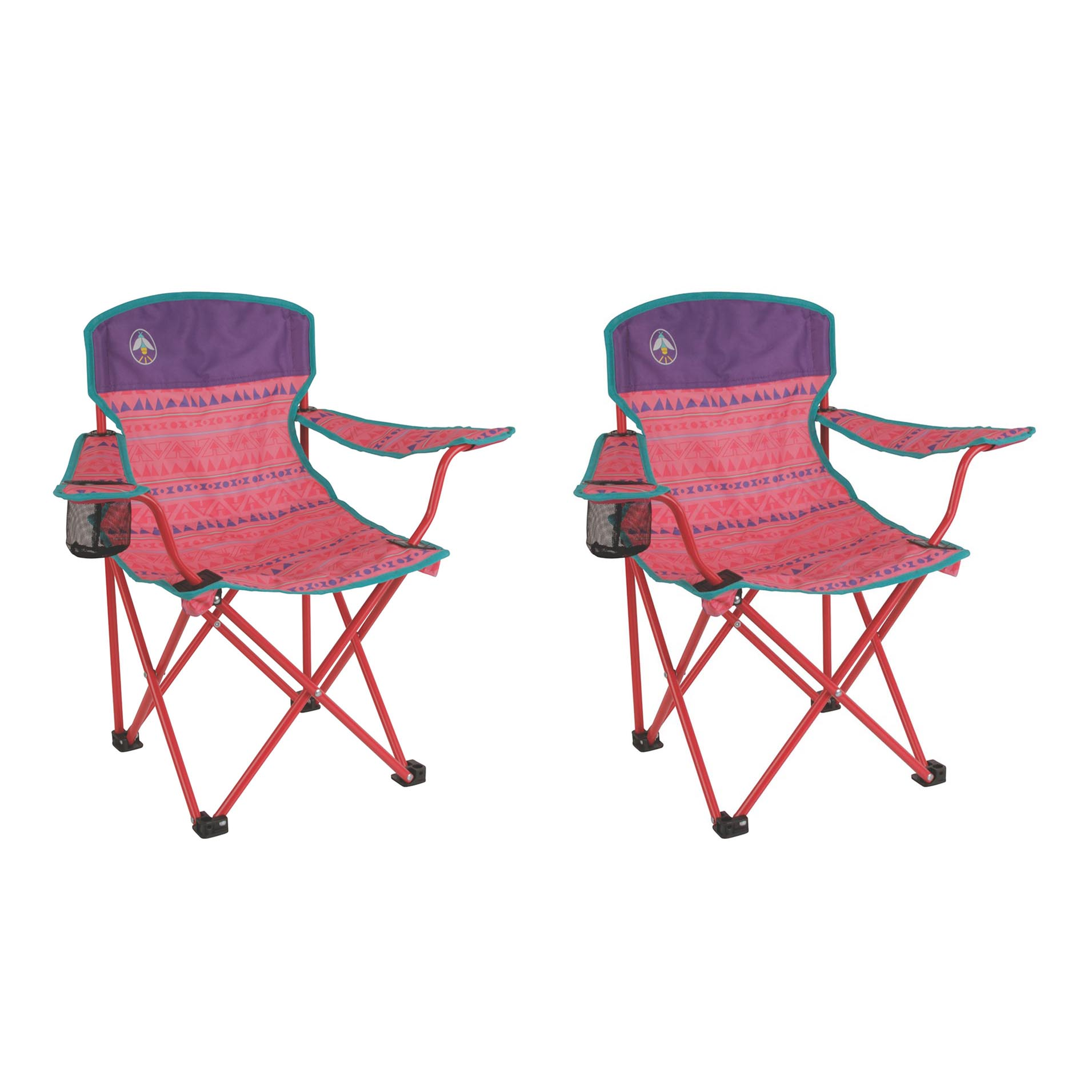 Coleman Kids Camping Glow-in-the-Dark Pink Quad Chairs (2 Pack) | 2 x 2000025293