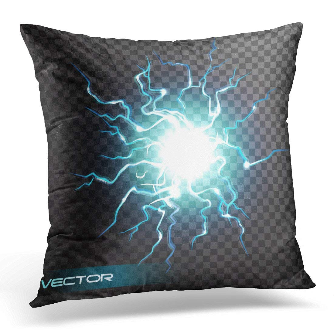USART Lightning Flash Light Thunder Spark Effect on Ball of Electricity Blast Storm Strike in Sky Magic Energy Pillow Cover 16x16 Inches Throw Pillow Case Cushion Cover