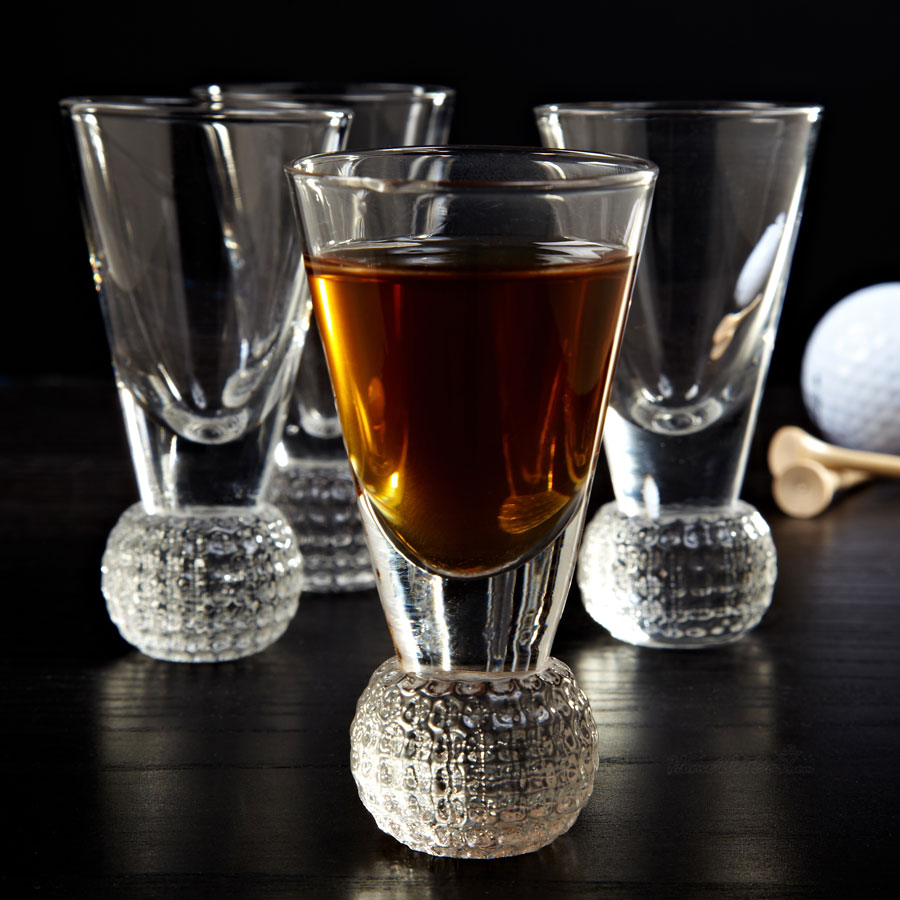 Dimpled Golf Ball Shot Glass Set of 4