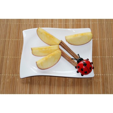 Peel-n-Stick Poster of Apple Slices Cinnamon Plate Decoration Ladybug Poster 24x16 Adhesive Sticker Poster Print (Ladybug Decorations)