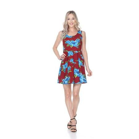 24e4997fe81 White Mark 826-183-S Women Floral Crystal Dress - Burgundy  44 ...