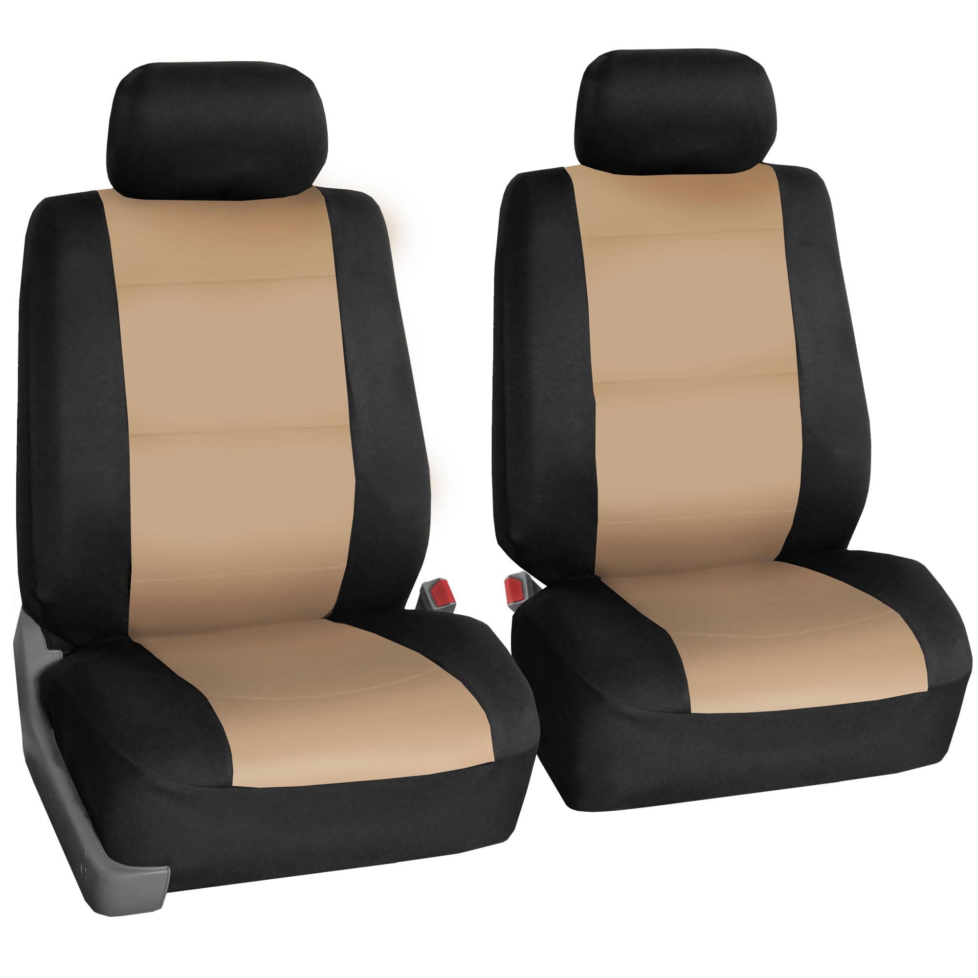 FH Group Neoprene Seat Covers for Sedan, SUV, Truck, Van, Two Front Buckets, Beige Black