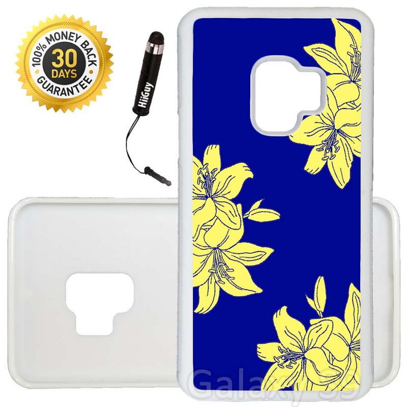 Custom Galaxy S9 Case (Bright Yellow Flowers on Blue) Edge-to-Edge Rubber White Cover Ultra Slim | Lightweight | Includes Stylus Pen by Innosub