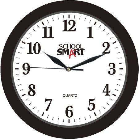 School Smart Silent Movement Wall Clock, 10 in White Dial/Black Frame