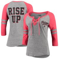 Atlanta Falcons New Era Women's Lace-Up Tri-Blend Raglan 3/4-Sleeve T-Shirt - Heathered Gray/Heathered Red