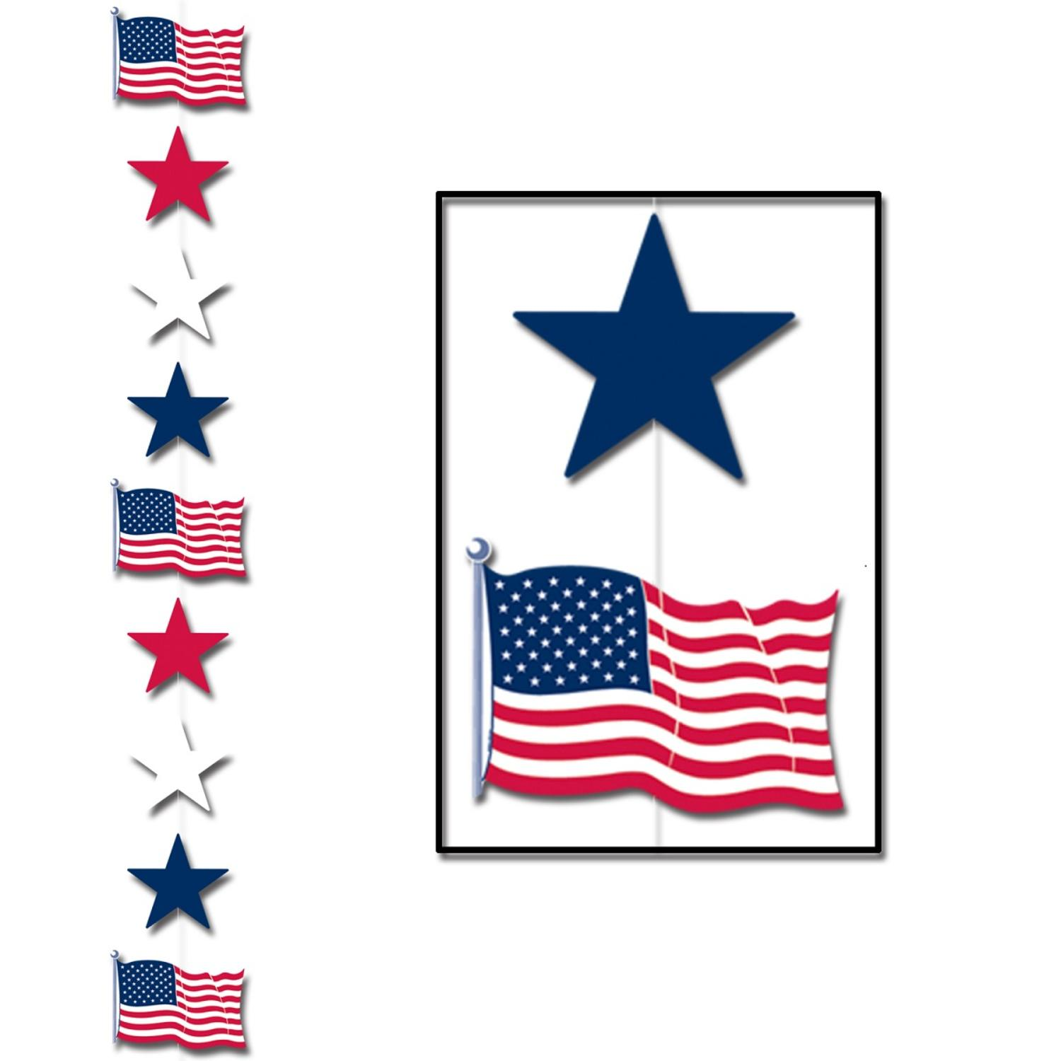 Club Pack of 12 Patriotic Red, White and Blue Star and Fl...