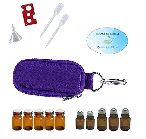 10 Bottle Essential Oil Keychain Carrying Case Travel Bag, Roller Bottles and Euro Orifice Reducer Bottles, Bottle Opener, Funnel, Pipettes (Purple)
