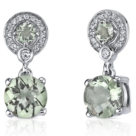 Peora 3.50 Ct Round Cut Green Amethyst Sterling Silver Drop Earrings Rhodium Finish