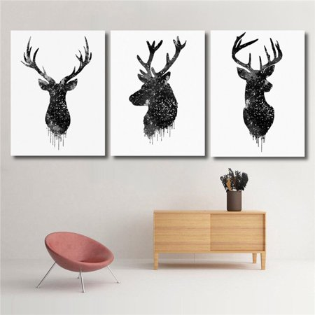 Deer Head Animal Minimalist Canvas Print Poster Watercolor Painting Modern Decor Unframed](Animal Print Decor)
