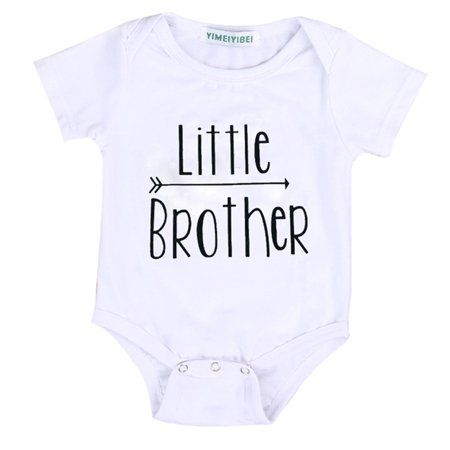 Big Little Brother Matching Set Cotton Top T-shirt Kid Baby Boy Romper Bodysuit Jumpsuit Outfit Clothes Little Brother 0-3M](Matching Toddler And Infant Outfits)