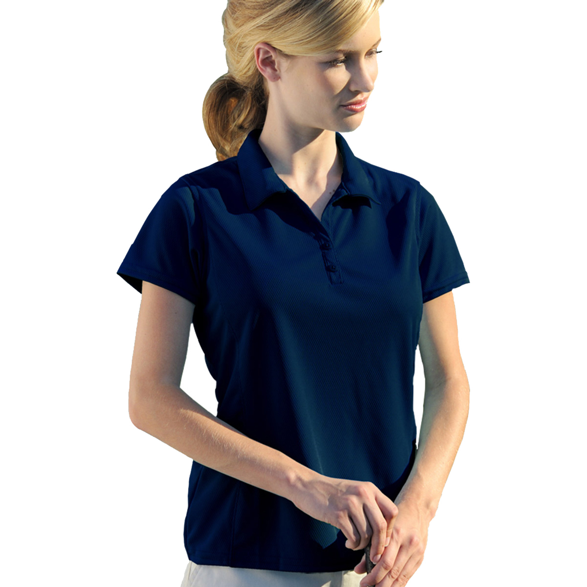 00820599181450 LADIES PERFORMANCE GOLF SHIRT 2801 NAVY L