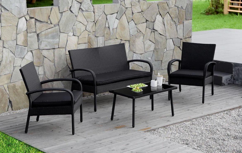 Cloud Mountain 4 PC Rattan Conversation Set Patio Outdoor Wicker Furniture, Black by Cloud Mountain