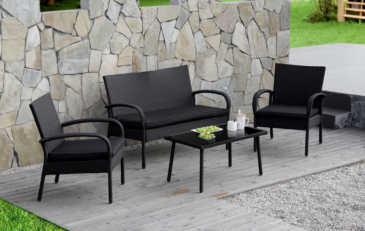 Cloud Mountain 4 PC Wicker Rattan Patio Conversation Set Rattan Furniture  Set Cushioned Wicker Sofa Glass