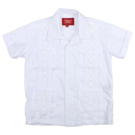 9 Crowns Essentials Boys' Guayabera Button Down Shirt-White-8 (White, 4)](Boys Off White Dress Shirt)