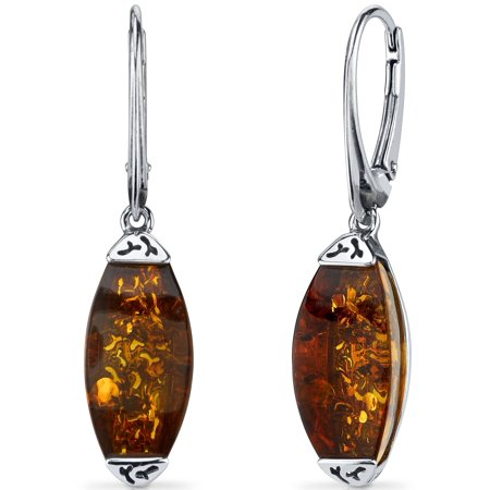 Peora Gallery Baltic Amber Sterling Silver Drop Earrings Rhodium Finish