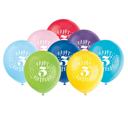 Latex Fun Happy 5th Birthday Balloons Assorted 12 In 8ct