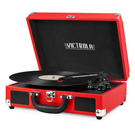 Victrola Bluetooth Portable Suitcase Record Player with 3-speed Turntable, (Red Record)