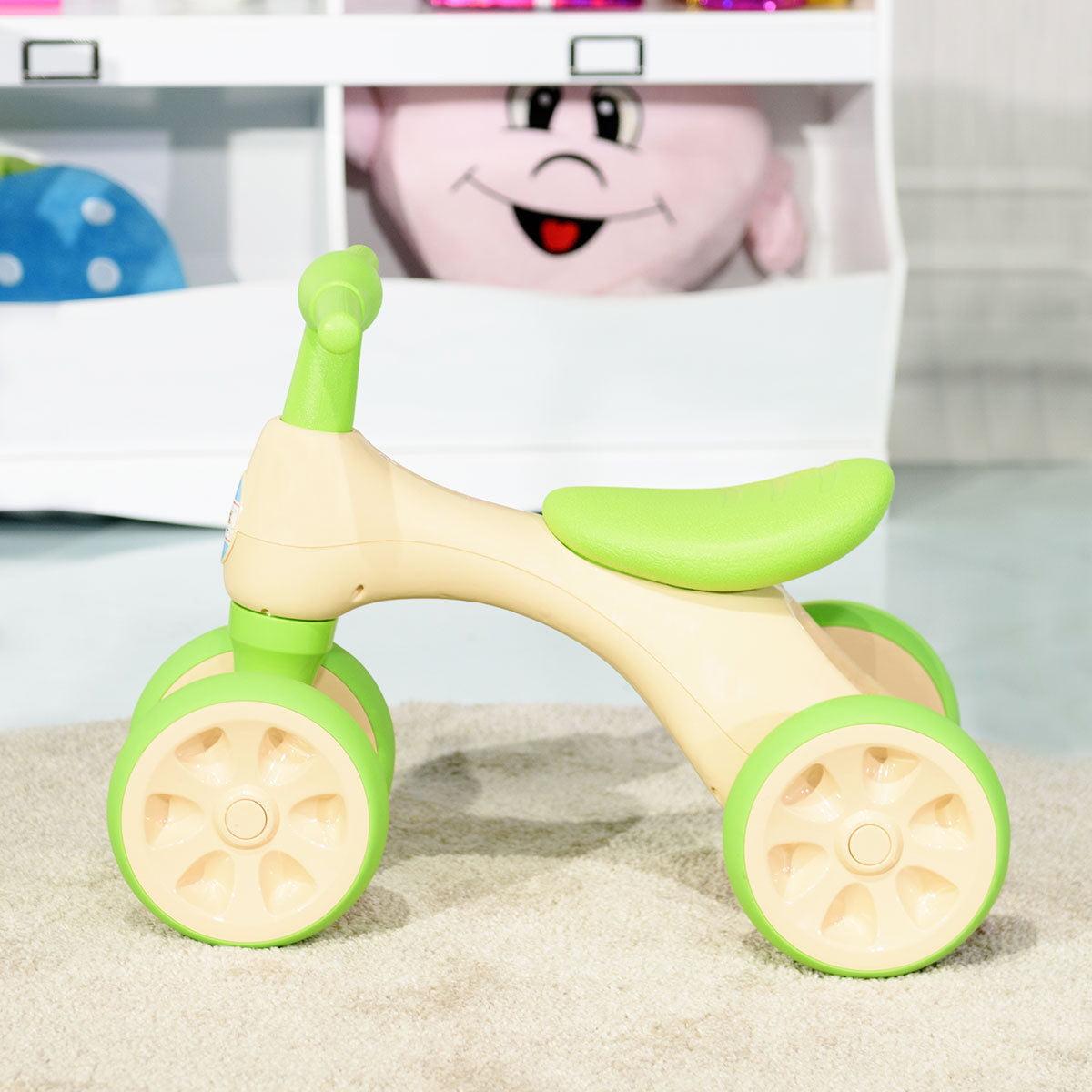 Costway Baby Balance Bike No Pedal Bicycle Children Walker 4 Wheels w/ Sound & Storage - image 6 de 10