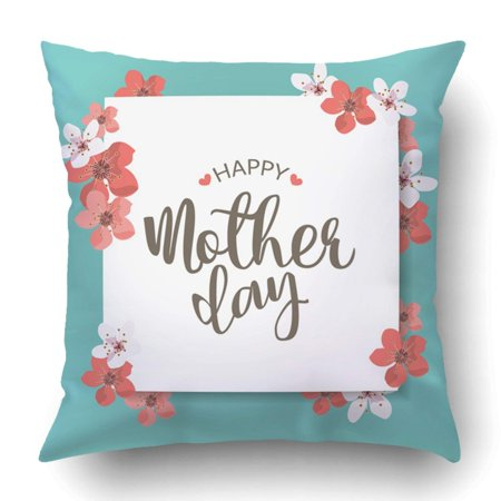 BPBOP Pink Mom Happy Mother Day Holiday Can Be Sale Advertisement Blue Flower Spring Pillowcase Cover Cushion 18x18 inch